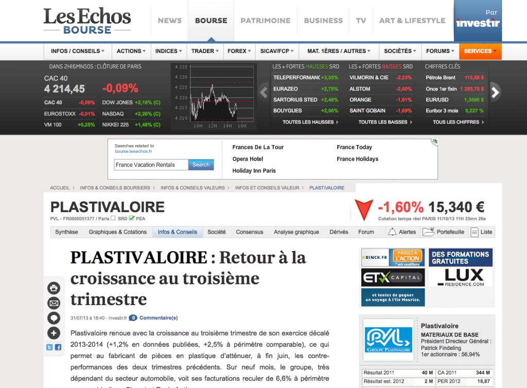 lesechos.fr - PLASTIVALOIRE - 31/07/2013
